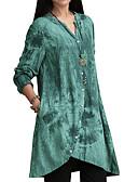 ราคาถูก เสื้อผู้หญิง-สำหรับผู้หญิง ขนาดพิเศษ เชิร์ต ฝ้าย คอวี รูปเรขาคณิต สีดำ