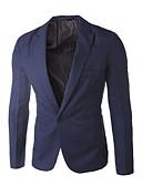 billige Herreblazere og dresser-Herre Blazer, Ensfarget Skjortekrage Polyester Lilla / Lyseblå / Marineblå