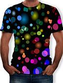 billige T-skjorter og singleter til herrer-Rund hals T-skjorte Herre - 3D, Trykt mønster Svart / Kortermet