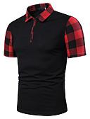 baratos Pólos Masculinas-Homens Tamanho Europeu / Americano Polo Patchwork, Estampa Colorida Colarinho de Camisa Preto