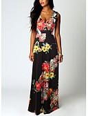 זול שמלות מקסי-V עמוק מקסי דפוס, פרחוני - שמלה ישרה סגנון רחוב אלגנטית בגדי ריקוד נשים