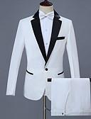 ราคาถูก ทักซิโด้-สำหรับผู้ชาย ขนาดพิเศษ ชุด, สีพื้น ปกคอแบะของเสื้อแบบน็อตช์ เส้นใยสังเคราะห์ ขาว / เพรียวบาง