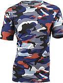 ราคาถูก เสื้อยืดและเสื้อกล้ามผู้ชาย-สำหรับผู้ชาย เสื้อเชิร์ต ฝ้าย ลายพิมพ์ คอกลม เพรียวบาง อำพราง สีน้ำเงิน