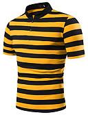 ราคาถูก เสื้อโปโลสำหรับผู้ชาย-สำหรับผู้ชาย ขนาดของยุโรป / อเมริกา Polo ลายต่อ คอเสื้อเชิ้ต ลายบล็อคสี ทับทิม