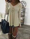 baratos Camisas Femininas-Mulheres Camiseta Oco, Sólido Decote V Azul / Primavera / Verão / Outono / Inverno