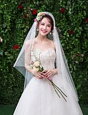 ราคาถูก ม่านสำหรับงานแต่งงาน-ชั้นเดียว ลูกไม้ ผ้าคลุมหน้าชุดแต่งงาน ผ้าคลุมศรีษะสำหรับชุดแต่งงาน กับ ไม่มีลาย ลูกไม้ / Tulle