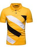 ราคาถูก เสื้อโปโลสำหรับผู้ชาย-สำหรับผู้ชาย ขนาดของยุโรป / อเมริกา Polo คอเสื้อเชิ้ต ลายบล็อคสี ทับทิม