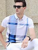 ราคาถูก ชุดว่ายน้ำผู้ชาย-สำหรับผู้ชาย Polo ฝ้าย ลายพิมพ์ คอเสื้อเชิ้ต หมากรุก สีน้ำเงิน