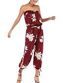 ราคาถูก จั๊มสูทและเสื้อคลุมสำหรับผู้หญิง-สำหรับผู้หญิง สีดำ ขาว ทับทิม ฮาเร็ม ชุด Jumpsuits Onesie, ลายดอกไม้ M L XL
