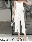ราคาถูก เซตชุดทูพีซสำหรับผู้หญิง-สำหรับผู้หญิง ฝ้าย ชุด - สีพื้น กางเกง