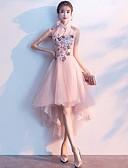 Χαμηλού Κόστους Φορέματα κοκτέιλ-Γραμμή Α Queen Anne Ασύμμετρο Τούλι χαριτωμένο στυλ Χοροεσπερίδα Φόρεμα 2020 με
