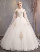 Χαμηλού Κόστους Νυφικά-Βραδινή τουαλέτα Ώμοι Έξω Μάξι Τούλι / Δαντέλα πάνω από σατέν Κοντομάνικο Επίσημα Μικρά Άσπρα Φορέματα Φορέματα γάμου φτιαγμένα στο μέτρο με Δαντέλα 2020