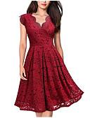 olcso Női ruhák-Női Alap Elegáns A-vonalú Ruha - Csipke, Egyszínű Midi