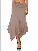 ราคาถูก กระโปรงผู้หญิง-สำหรับผู้หญิง Swing พื้นฐาน ไม่สมดุล กระโปรง - สีพื้น สีดำ สีน้ำเงินกรมท่า สีกากี S M L