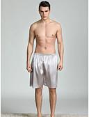 ราคาถูก ชุดว่ายน้ำผู้ชาย-สำหรับผู้ชาย คอกลม ซาตินและผ้าไหม ชุดนอน สีพื้น