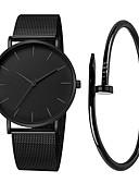 ราคาถูก นาฬิกาข้อมือสแตนเลส-สำหรับผู้ชาย นาฬิกาตกแต่งข้อมือ นาฬิกาอิเล็กทรอนิกส์ (Quartz) สแตนเลส ดำ / เงิน / Rose Gold 30 m กันน้ำ Creative ปุ่มหมุนขนาดใหญ่ ระบบอนาล็อก ไม่เป็นทางการ แฟชั่น - สีดำ สีเงิน Rose Gold