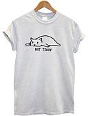 Χαμηλού Κόστους Αντρικά Εσώρουχα & Κάλτσες-Γυναικεία T-shirt Βαμβάκι Ζώο Στάμπα Μαύρο
