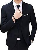 ราคาถูก ทักซิโด้-สำหรับผู้ชาย เสื้อคลุมสุภาพ ปกคอแบะของเสื้อแบบน็อตช์ เส้นใยสังเคราะห์ สีดำ / สีฟ้า / ทับทิม / เพรียวบาง