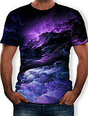 baratos Camisetas & Regatas Masculinas-Homens Camiseta Estampado, Galáxia Decote Redondo Preto / Manga Curta