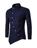 ราคาถูก เสื้อเชิ้ตผู้ชาย-สำหรับผู้ชาย เชิร์ต ลายต่อ ปกตั้ง สีพื้น สีดำ