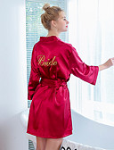 ราคาถูก เสื้อคลุมและชุดนอน-สำหรับผู้หญิง กระโปรง - สีพื้น โบว์ / รองเท้าผูกเชือก / ปัก ขาว สีแดงชมพู ไวน์ L XL XXL / คอวี / Sexy