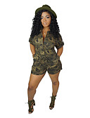 ราคาถูก จั๊มสูทและเสื้อคลุมสำหรับผู้หญิง-สำหรับผู้หญิง Sophisticated สีเหลือง สีน้ำเงิน ใบไม้สีเขียวที่มีสามแฉก Romper Onesie, อำพราง สายผูก S M L