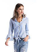 ราคาถูก เสื้อเชิ้ตสำหรับสุภาพสตรี-สำหรับผู้หญิง เชิร์ต คอวี ลายแถบ สีน้ำเงิน