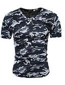 ราคาถูก เสื้อยืดและเสื้อกล้ามผู้ชาย-สำหรับผู้ชาย เสื้อเชิร์ต คอวี เพรียวบาง อำพราง ทับทิม