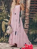 billige Maxikjoler-Dame Tynn Swing Skjorte Kjole Drapering Med stropper Maksi Dusty Rose