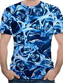ราคาถูก เสื้อยืดและเสื้อกล้ามผู้ชาย-สำหรับผู้ชาย เสื้อเชิร์ต Street Chic / ที่พูดเกินจริง ลายพิมพ์ ลายบล็อคสี / 3D / กราฟฟิค สีน้ำเงิน