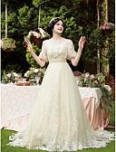 povoljno Maturalne haljine-A-kroj Scoop Neck Dugi šlep Čipka / Til Izrađene su mjere za vjenčanja s Perlica / Aplikacije po LAN TING BRIDE®