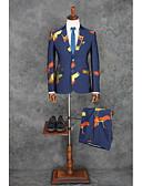 お買い得  スーツ-ブルー パターン柄 スタンダードフィット コットン / ポリエステル スーツ - ノッチドラペル シングルブレスト 二つボタン