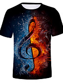billige T-skjorter og singleter til herrer-Rund hals T-skjorte Herre - Fargeblokk / 3D Svart / Kortermet