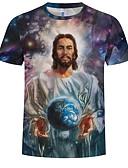 ราคาถูก เสื้อยืดและเสื้อกล้ามผู้ชาย-สำหรับผู้ชาย ขนาดพิเศษ เสื้อเชิร์ต ฝ้าย ลายพิมพ์ คอกลม 3D / Portrait สีน้ำเงิน