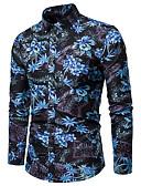 billige Herreskjorter-Bomull Klassisk krage Store størrelser Skjorte Herre - Blomstret, Trykt mønster Blå