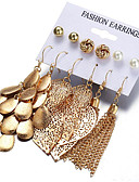 cheap Women's Blouses-Women's Earrings Set Hollow Out filigree Leaf Stylish Earrings Jewelry Gold For Gift Daily 6 Pairs