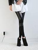 ราคาถูก กางเกงขากว้าง-สำหรับผู้หญิง PU ที่ปกคลุมขา - สีพื้น, ลายต่อ ข้อมือระดับกลาง สีดำ ขนาดเดียว / เพรียวบาง