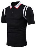 ราคาถูก เสื้อโปโลสำหรับผู้ชาย-สำหรับผู้ชาย ขนาดของยุโรป / อเมริกา Polo ลายต่อ คอเสื้อเชิ้ต ลายบล็อคสี ขาว