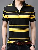 ราคาถูก เสื้อโปโลสำหรับผู้ชาย-สำหรับผู้ชาย Polo ฝ้าย คอเสื้อเชิ้ต ลายแถบ สีดำ