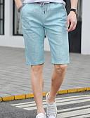 ราคาถูก กางเกงผู้ชาย-สำหรับผู้ชาย พื้นฐาน เพรียวบาง กางเกงขาสั้น กางเกง - สีพื้น สีฟ้า สีกากี เทาอ่อน XXL XXXL XXXXL