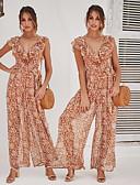 ราคาถูก ชุดเด็กผู้หญิง-สำหรับผู้หญิง ส้ม สีน้ำเงิน ใบไม้สีเขียวที่มีสามแฉก ชุด Jumpsuits Onesie, ลายดอกไม้ ระบาย / ผ้าชีฟอง S M L ฤดูใบไม้ผลิ ฤดูร้อน ตก / ฤดูหนาว