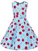 ราคาถูก เดรสเด็กผู้หญิง-เด็ก เด็กผู้หญิง วินเทจ สไตล์น่ารัก ผลไม้ ลายพิมพ์ เสื้อไม่มีแขน ยาวถึงเข่า กระโปรงชุด สีน้ำเงิน / ฝ้าย