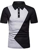 ราคาถูก เสื้อโปโลสำหรับผู้ชาย-สำหรับผู้ชาย ขนาดของยุโรป / อเมริกา Polo ธุรกิจ สีพื้น สีดำ / แขนสั้น