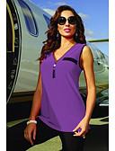 billige Uformelle kjoler-V-hals Store størrelser Singleter Dame - Ensfarget Rød