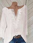 ราคาถูก เสื้อเชิ้ตสำหรับสุภาพสตรี-สำหรับผู้หญิง ขนาดพิเศษ เสื้อเชิร์ต คอวี สีพื้น ขาว
