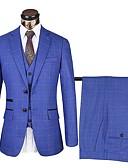 Χαμηλού Κόστους Κοστούμια-Σκούρο γκρι Συνδυασμός / Γκριζογάλανο / Σκούρο μπλε Μονόχρωμο Τυπική εφαρμογή Polyster Κοστούμι - Εγκοπή Μονόπετο Δύο Κουμπιών / Στολές
