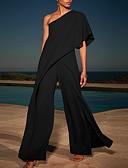 ราคาถูก จั๊มสูทและเสื้อคลุมสำหรับผู้หญิง-สำหรับผู้หญิง สีดำ ขาว สีน้ำเงิน ชุด Jumpsuits Onesie, สีพื้น ผ้าชีฟอง S M L ฤดูใบไม้ผลิ ฤดูร้อน ตก / ฤดูหนาว