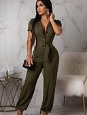 ราคาถูก จั๊มสูทและเสื้อคลุมสำหรับผู้หญิง-สำหรับผู้หญิง อาร์มี่ กรีน เพรียวบาง ชุด Jumpsuits Onesie, สีพื้น S M L