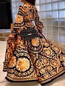 זול שמלות מקסי-א-סימטרי דפוס, גיאומטרי - שמלה נדן בסיסי סגנון רחוב בגדי ריקוד נשים