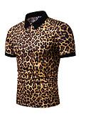 baratos Pólos Masculinas-Homens Tamanho Europeu / Americano Polo Leopardo Colarinho de Camisa Branco